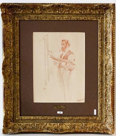 """ENSOR James (1860-1949), """"L'Artiste à son chevalet"""" (recto) et """"Double"""