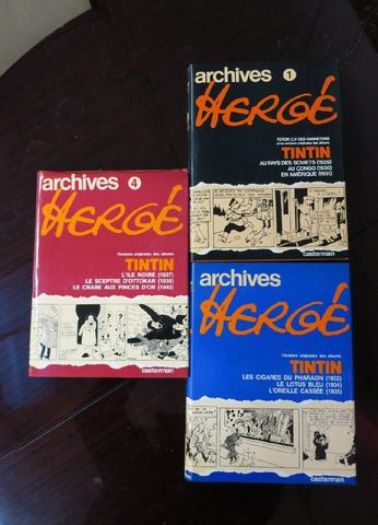 Archives HERGE. Tintin. Volumes 1, 3 et 4 aux éditions Casterman.