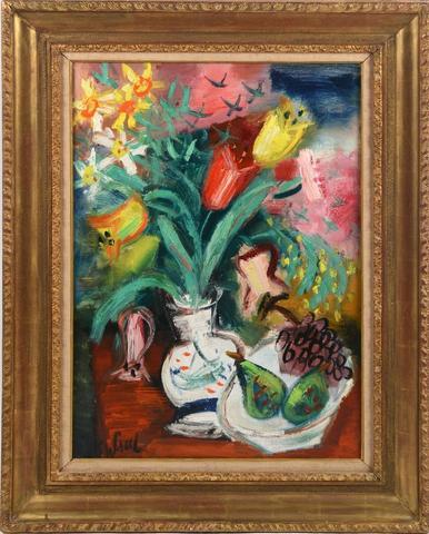 """GEN PAUL (1895-1975) """"Nature morte au vase de tulipes, poires et"""
