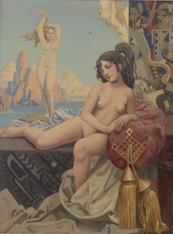 """Raphaël DELORME (1885-1962) """"Vénus et Odalisque aux tourterelles"""