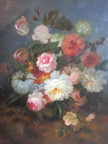 Me Thierry. Bouquet de fleurs. Huile sur toile signée et datée 1869.