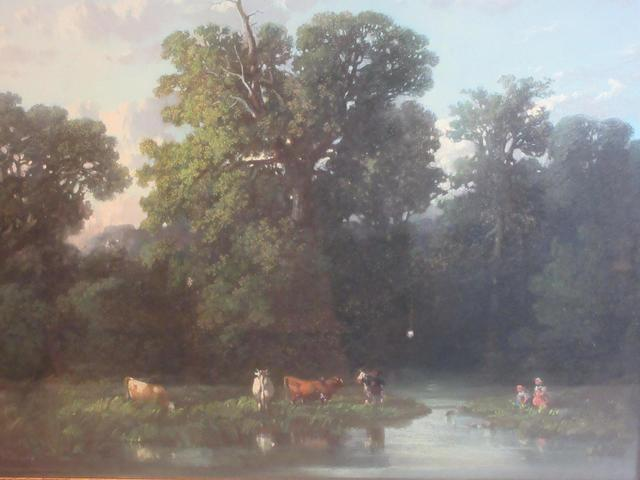 Auguste Rolland (1797/1859). Troupeau à la rivière. Pastel sur papier