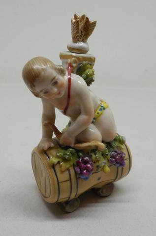 Cupidon. Flacon en porcelaine polychrome. 7 x 4 cm