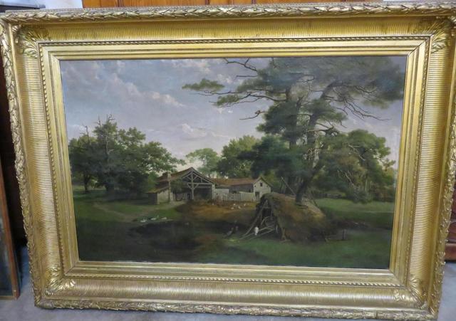 """A BLUHM  : importante huile sur toile """"cour de ferme"""" XIXème 96,5"""