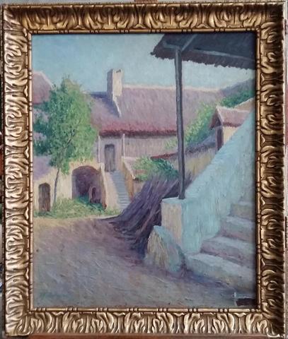 """BORGEAUD Marius (1861-1924) : """"Vieux village aux escaliers"""" Toile"""
