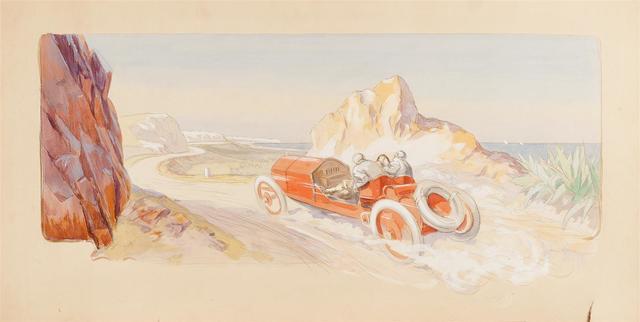 """ERNEST MONTAUT (1879-1909) Projet pour la lithographie : """"Targa Florio,"""