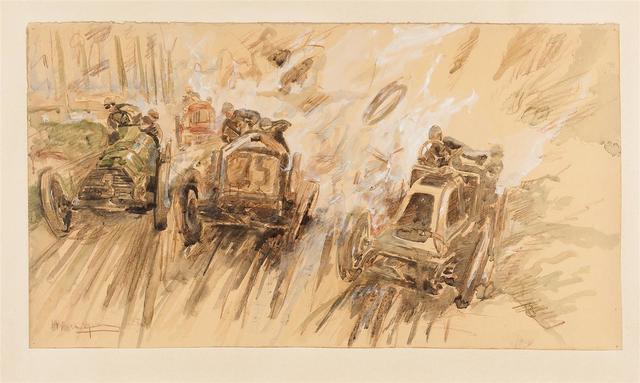 ATELIER MONTAUT-MABILEAU Course automobile Crayon, aquarelle et gouache