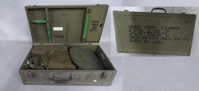 Détecteur de mine US SCR-625-C dans sa caisse en bois daté 1944