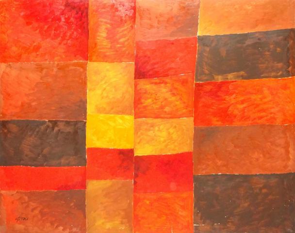 Léon GISCHIA (1903 – 1991) Composition, 1988 Huile sur toile,