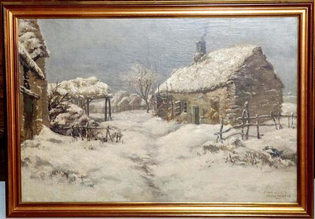 "CERAMANO Charles Ferdinand (1829-1909) ""La chaumière, Hiver de 1879"""