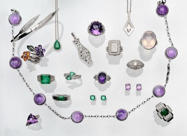 Améthystes, citrines, émeraudes, diamants (certificats)