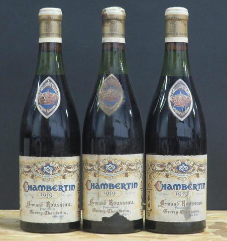 3  Chambertin Armand Rousseau - 1959 (1 étiquette abîmée)