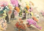 "Albert BRENET (1903-2005) ""Japon, concours Bonzaï"" gouache sbd 54x75"