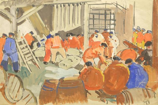 Mathurin MEHEUT (1882-1958)  «Marins aux vareuses rouges et bleues»