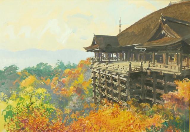"Albert BRENET (1903-2005) ""Temple au Japon"" gouache sbg 72x102"