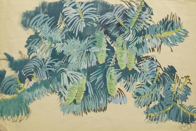 Mathurin MEHEUT (1882-1958) «Branches de conifères» gouache