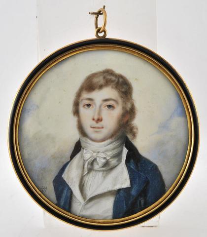 Miniature ronde sur ivoire, figurant un jeune homme en redingote bleue