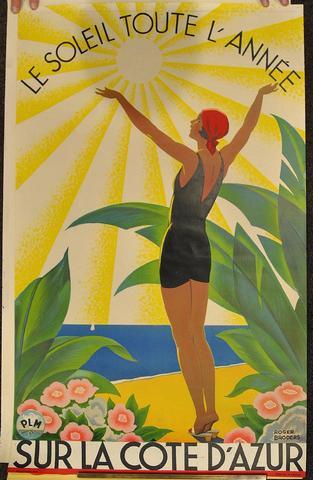 """Affiche """"Sur la Côte d'Azur"""" Roger BRODERS Dimensions : 100 x 62"""