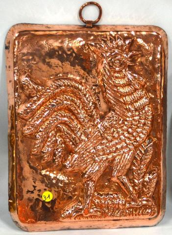 31-Moule à chocolat en cuivre,  à décor d'un COQ, parfait état-