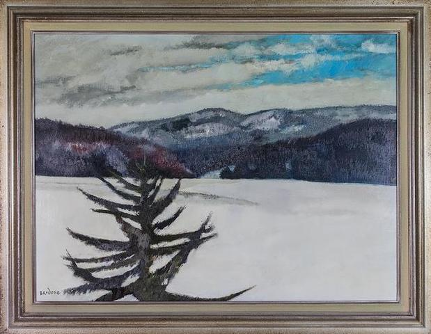 Guy BARDONE Paysage de neige Huile sur toile, signée en bas à gauche Dimensions
