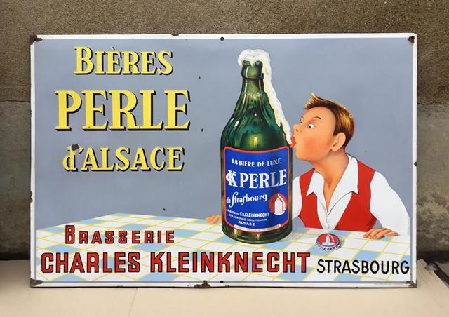 Bières Perles Grande plaque émaillée
