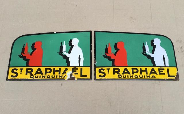 Saint-Raphaël Rare paire de plaques émaillées de métro