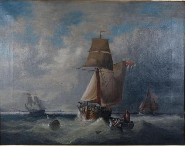 OVENDEN Francis W. (actif 1834-1843) Marine. Huile sur toile, signée