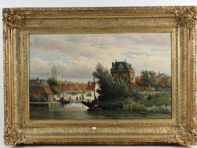 HEPPENER Johannes Jacobus (1826-1898). Vue de Oudewater, scène de
