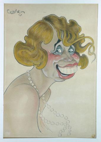 MISTINGUETT Dessin original de 46 x 32 cm., fusain et pastel, signé