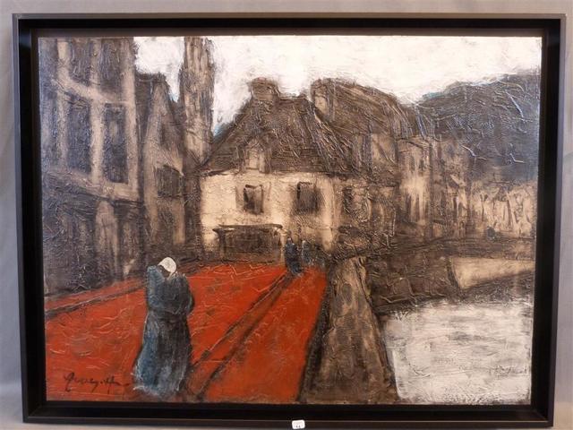 Hervé AVNER (1954) Bretonne en bord de mer Huile sur toile, signée