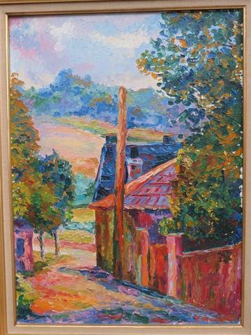 Serge MENDJINSKY (1929 - ) - Ruelle à Senlis Huile sur toile datée