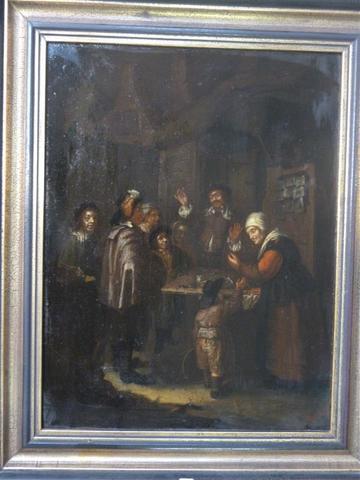 Pietro COMUCCI (XIX)  Scène de taverne animée huile sur toile annotée