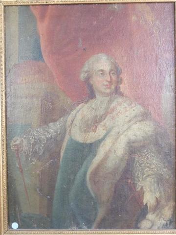 Portrait de Louis XVI en costume de sacre. huile sur toile marouflée
