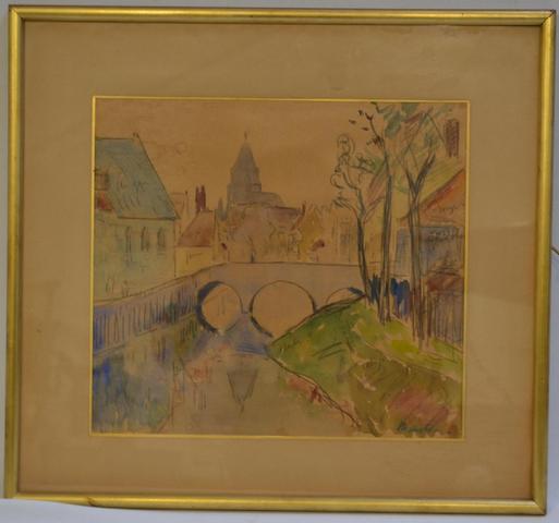 Maxime MAUFRA (1861-1918) Le pont, 70 Dessin aquarellé signé en