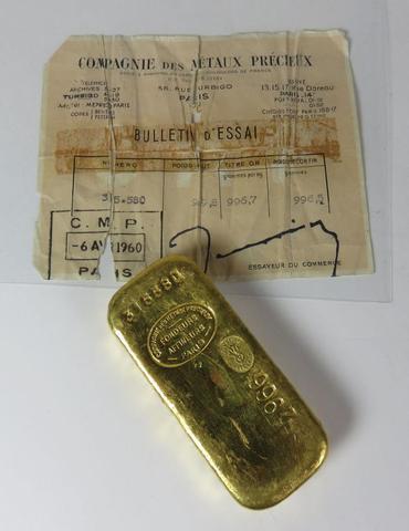 Lingot d or n° 315 580 (poids brut 999,8 g - titre or 996,7 g/kg
