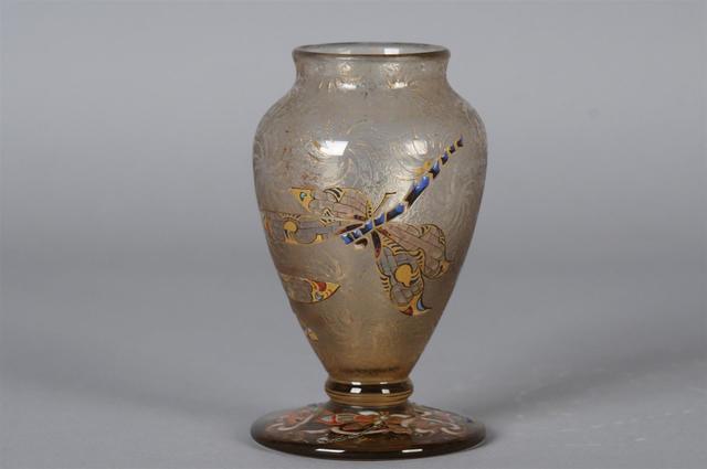"""GALLE Emile (1846-1904) Vase """"Libellules"""" de forme ovoïde à col"""