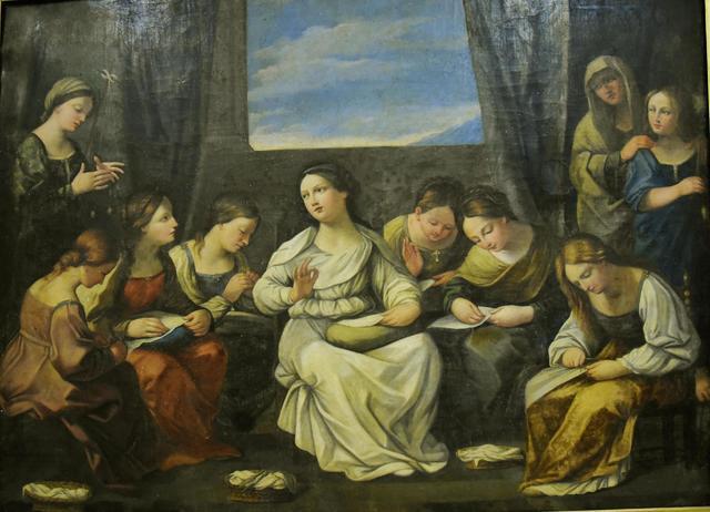 Ecole Bolonaise vers 1700 - Les couseuses - Huile sur toile 152x210