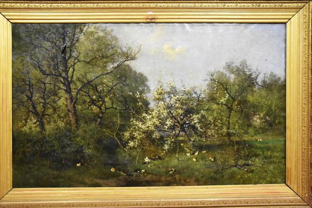 Alexandre DEFAUX (1826-1900) - Paysage, canards et poules - grande