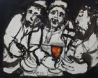 SCHEMIAKIN. Les trois rabins au calice. Huile sur toile signée en