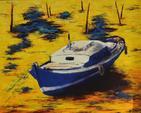 ARTERO Michel, Une pinasse, huile sur toile, 2000, 92 x 73