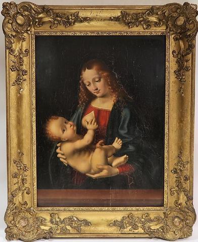 Ecole française du XVIIème siècle. Vierge à l'Enfant. Huile sur