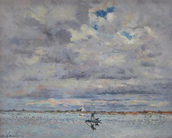 André HAMBOURG (1909-1999). Septembre sur l'étang en Camargue. Huile