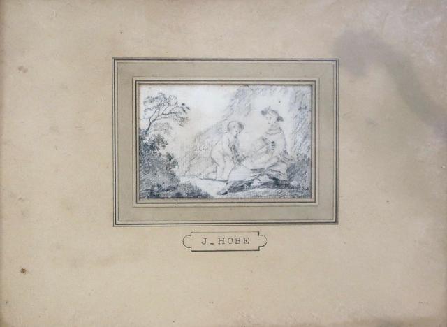 J. HOBE. Femme et enfant. Petit dessin au crayon. 5,5x8cm