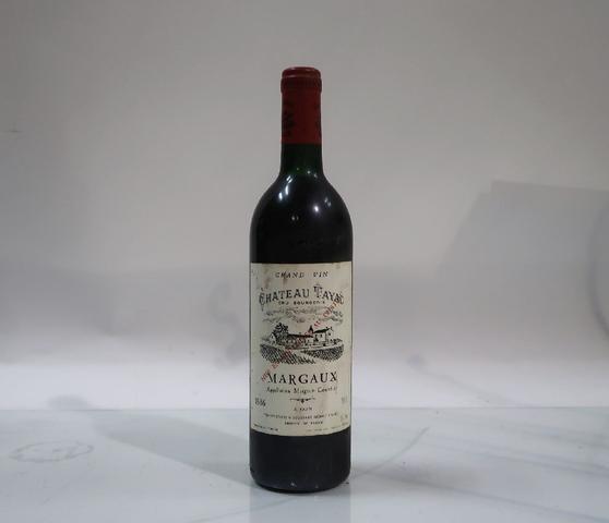 1* bouteille de château Tayac, Margaux, 1986