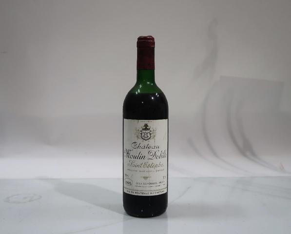 1* bouteille de château Moulin Delille, Saint Estephe, 1995
