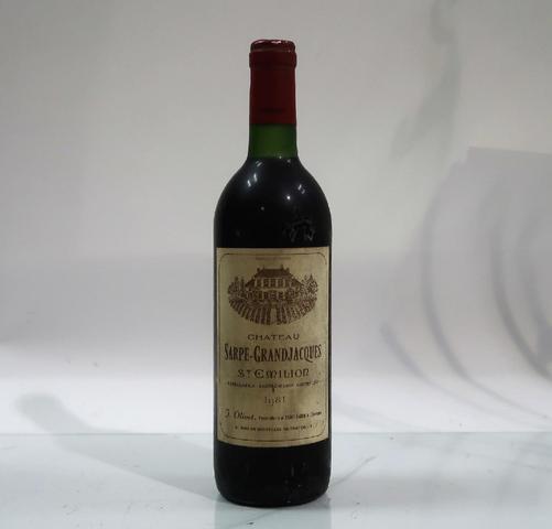1* bouteille de château Sarpe Grandjacques, Saint Emilion, 1981