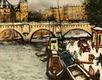 Charles MALLE  (né en 1935). Quai de Seine. Pastel. Signée en bas