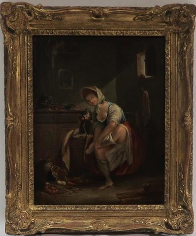Ecole française du XIXème siècle. La toilette. Huile sur toile.