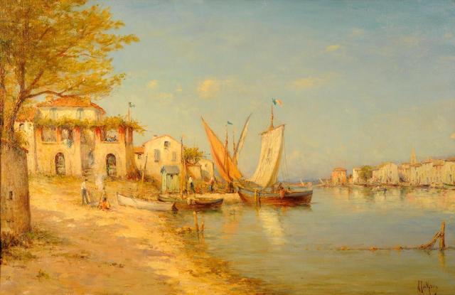 Henri MALFROY  (1895 - 1944). Le port des Martigues Huile sur toile.