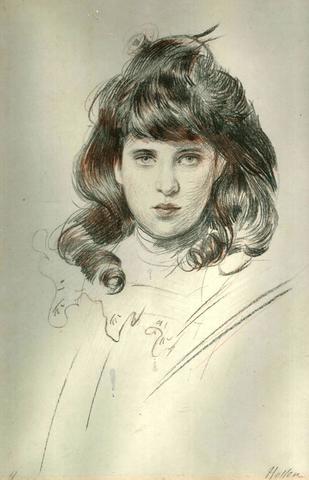 Paul César HELLEU (1859-1927). Portrait de jeune femme. Dessin aux